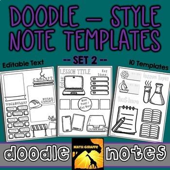 Editable Doodle Note Templates SET 2
