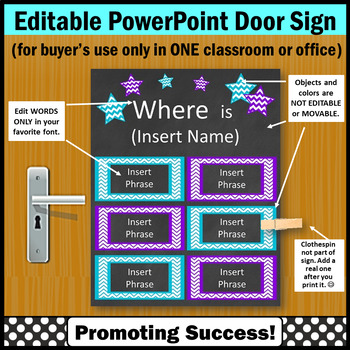 EDITABLE Door Sign, Purple and Turquoise Where is the Counselor Sign