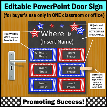 Office Door Sign, Where are We, Red & Blue Where is the Counselor Sign EDITABLE
