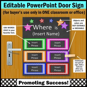 Colorful Office Decor, Editable Door Sign, Words Only,  Editable Name Sign