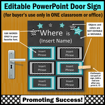 Editable Door Sign, Words Only are EDITABLE Name Sign, Teal and Black