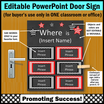Red & Black Where is the Counselor Sign EDITABLE, Office Door Sign, Where are We
