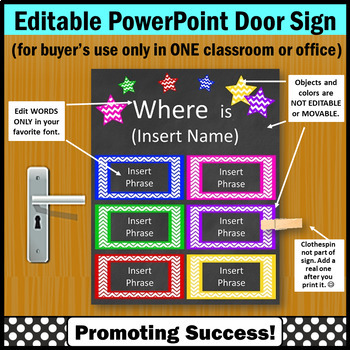 Editable Door Sign, Words Only are Editable Name Sign, Colorful with No Orange