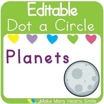 Editable Dot a Circle: Planets