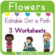 Editable Dot a Path: Kids and Flowers
