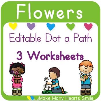 Editable Dot a Path: Kids and Flowers