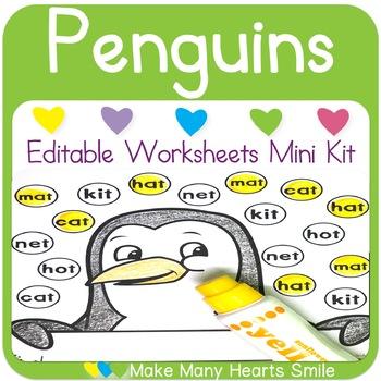 Editable Worksheets Mini Kit: Penguins