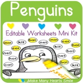 Editable Worksheets Mini Kit: Penguins