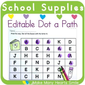 Editable Dot a Path: School Supplies