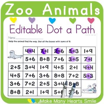 Editable Dot a Path: Zoo Animals