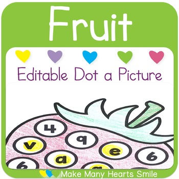 Editable Dot a Picture: Fruit