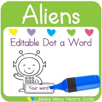 Editable Dot a Word: Aliens