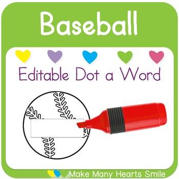 Editable Dot a Word: Baseball