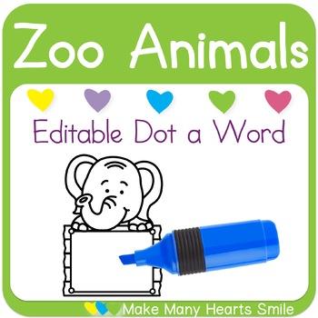 Editable Dot a Word: Elephants