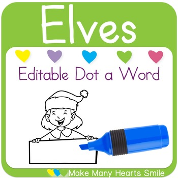 Editable Dot a Word: Elves with Signs