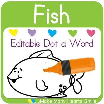 Editable Dot a Word: Fish
