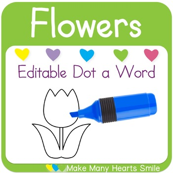 Editable Dot a Word: Flower