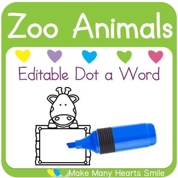 Editable Dot a Word: Giraffes
