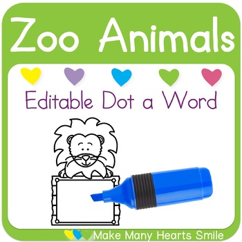 Editable Dot a Word: Lions