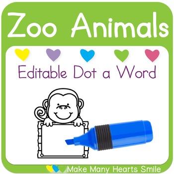 Editable Dot a Word: Monkeys
