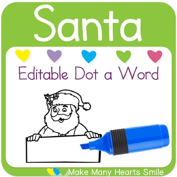 Editable Dot a Word: Santa with Signs