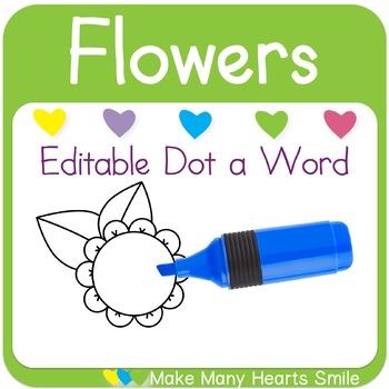 Editable Dot a Word: Flowers