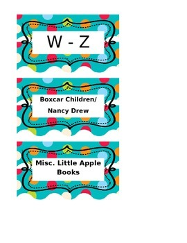 Editable Dots on Torquise Classroom Library Labels
