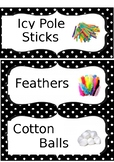 Editable Dotted Labels Art, Building Blocks and Drama/Danc