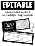 Editable Double Sided Name Tags and Login Cards