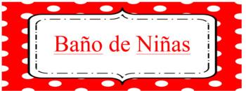 Editable Dual Language School Spanish Labels