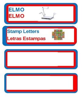 Editable Dual language classroom labels