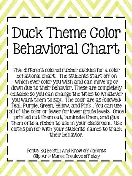 Editable Duck Theme Color Behavioral Chart