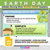 Editable EARTH DAY Morning Work GOOGLE SLIDES Templates