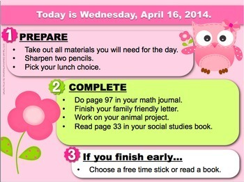 Editable EASTER Owl Themed Morning Work PowerPoint Templates