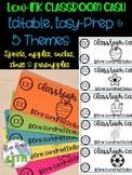 Editable EASY Classroom Cash- 5 Themes: Cactus, Pineapple, Sports...