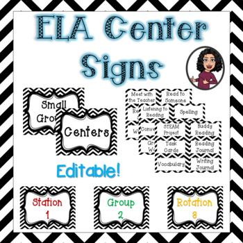 Editable ELA Center Signs & Labels-Black & White