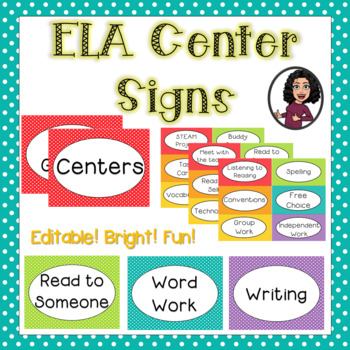 Editable ELA Center Signs & Labels-Polka Dot