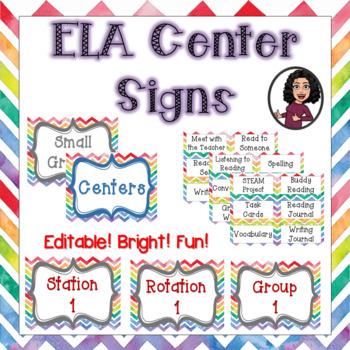 Editable ELA Center Signs & Labels-Rainbow