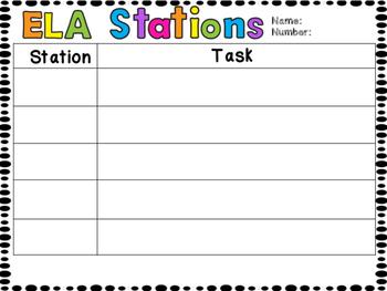 Editable ELA Stations and Student Goal Setting