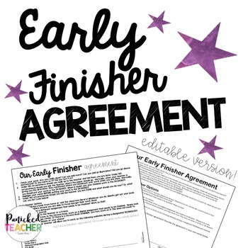 Editable Early Finisher Agreement