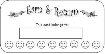 Editable Earn and Return Behavior Punch Card