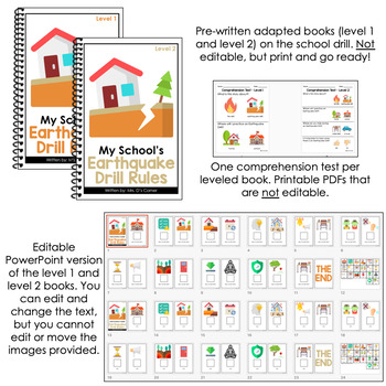 Editable Earthquake Drill Adapted Books [ Level 1 and Level 2 ] | School Drills