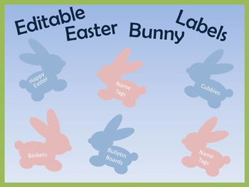Editable Easter Bunny Rabbit Labels