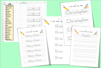 Editable Easy Excel file copy and paste your students name Max 20, with 2 font