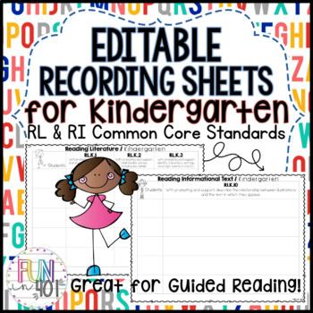 Editable Easy Recording Sheets for R.L.K.1- R.L.K.10