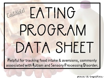 Editable- Eating Program Data Sheet