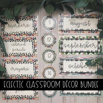 Editable Eclectic Classroom Decor Bundle