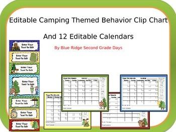 Editable Editable Camping Behavior Clip Chart and 12 Editable Behavior Calendars