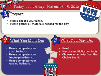 Editable Election Day Morning Board