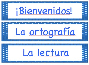 Editable Elementary Classroom Spanish Schedule Cards